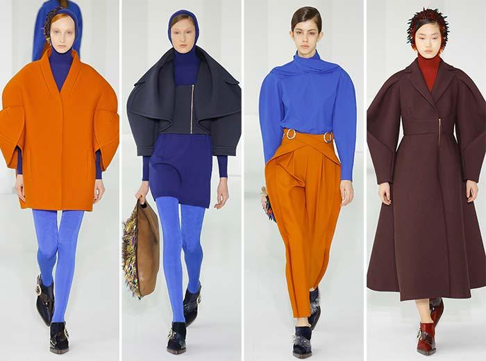 Пальто и полупальто Делпозо: голубой идеально сочетается с насыщенным оранжевым
