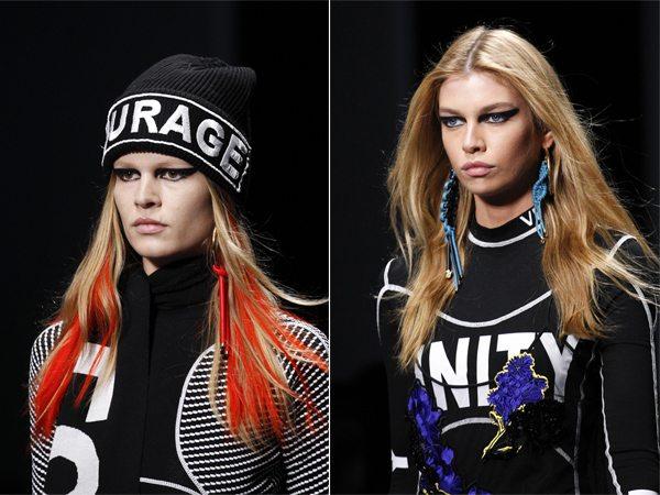 Длинные волосы у моделей Versace FW 2017-2018