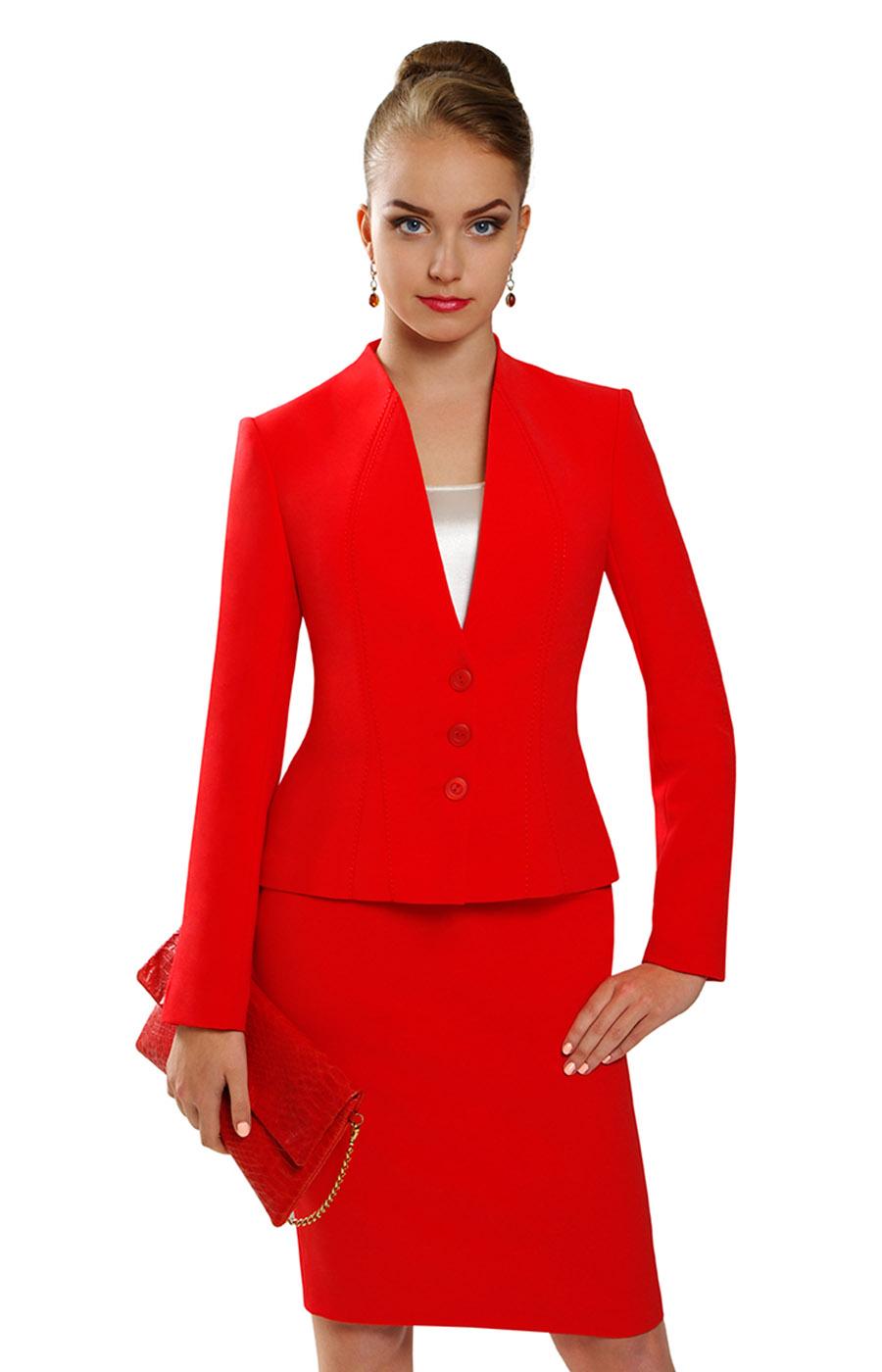Деловой красный костюм от Джей Эль