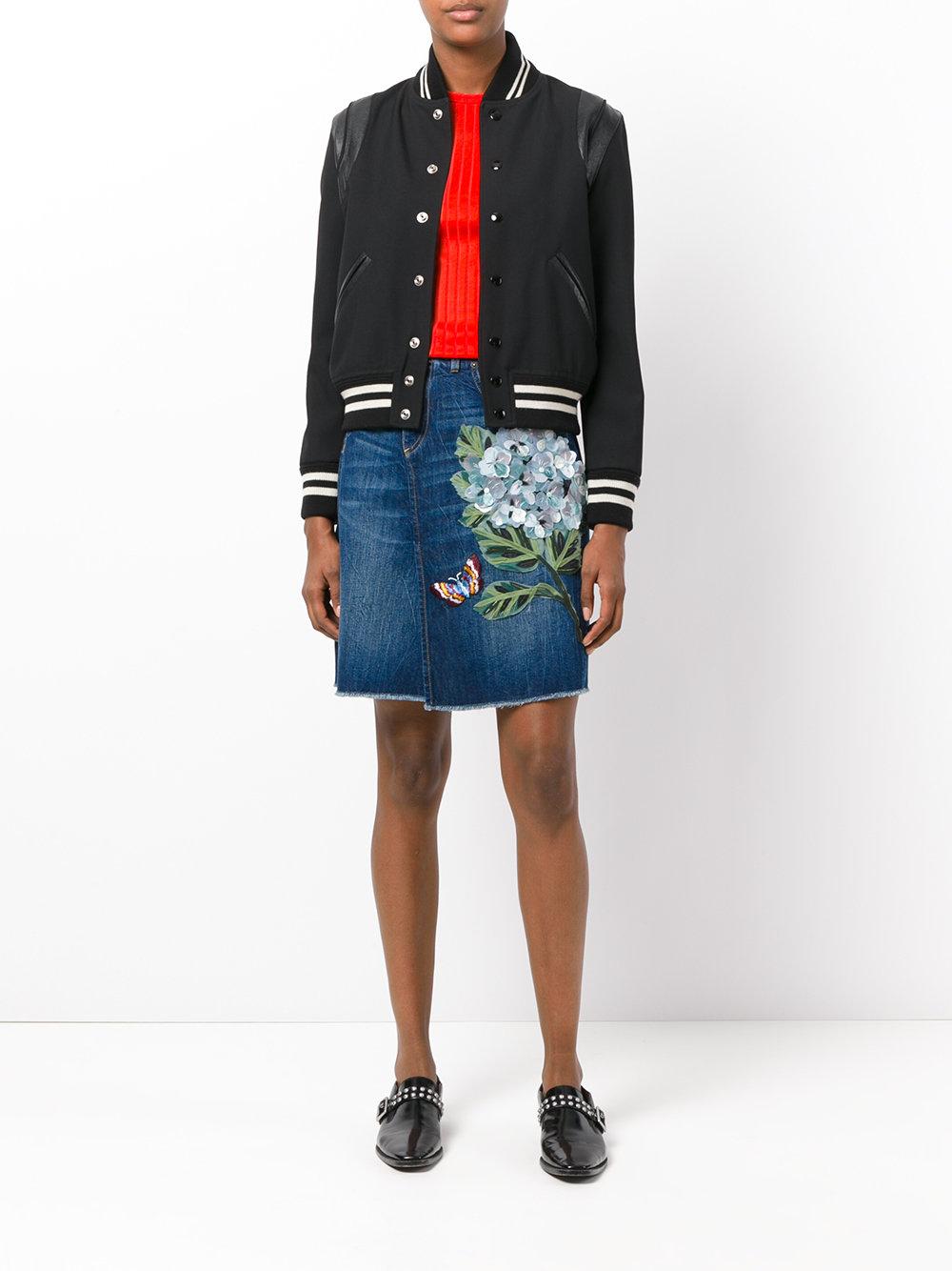 Джинсовая юбка с цветочным принтом для осени 2017
