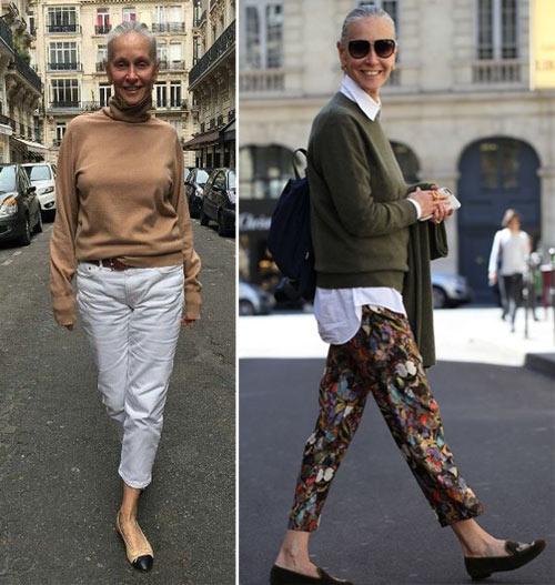 Образ для осени 2020: белые брюки - бежевый свитер, брюки с принтом - белая рубашка + однотонный пуловер