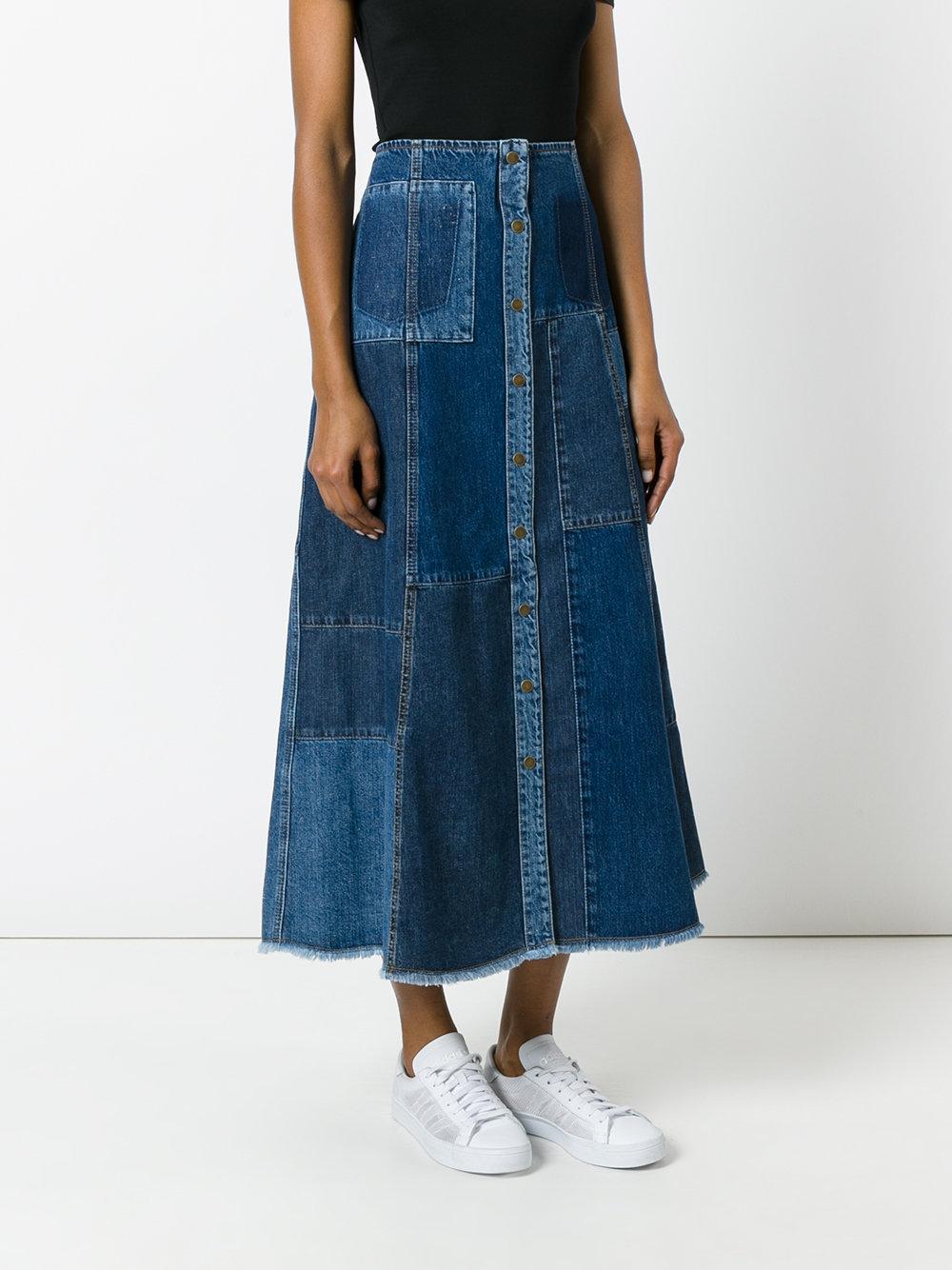 Модная джинсовая юбка А-силуэта осень-зима 2017-2018