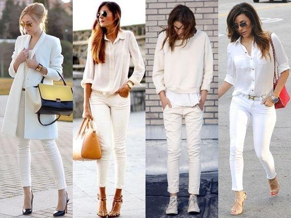 Белые джинсы в сочетании со светлым верхом