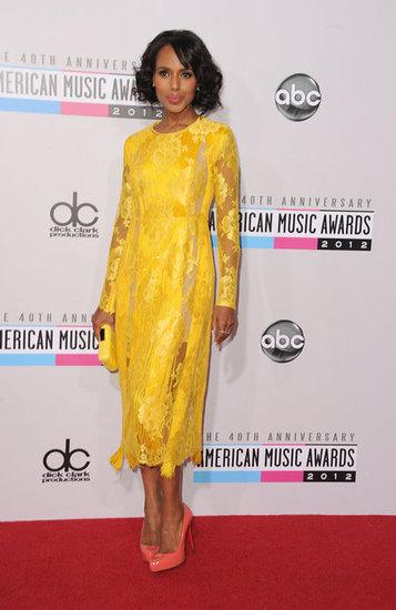 Керри Вашингтон в желтом гипюровом платье