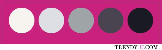 Сочетания цвета фуксии: белый, серый, черный