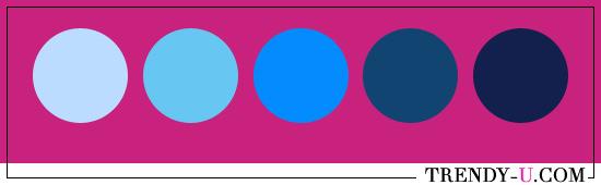 Цвет фуксия и синий. Сочетания