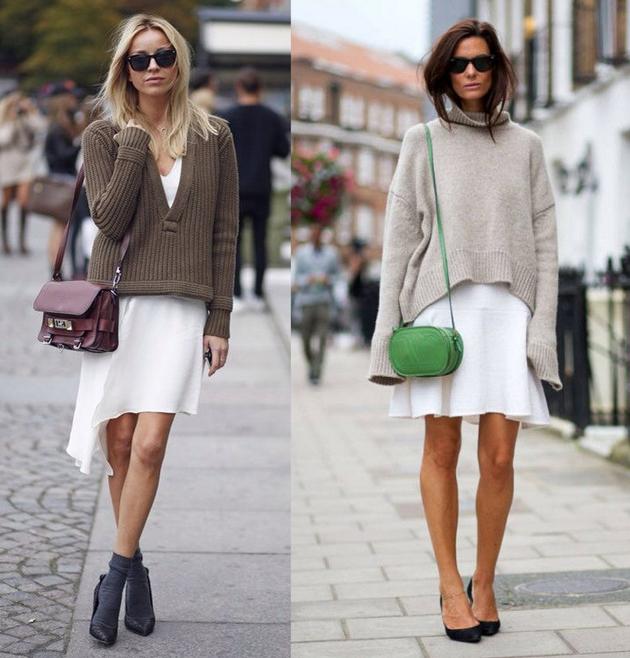 Белая юбка в сочетании с объемным свитером