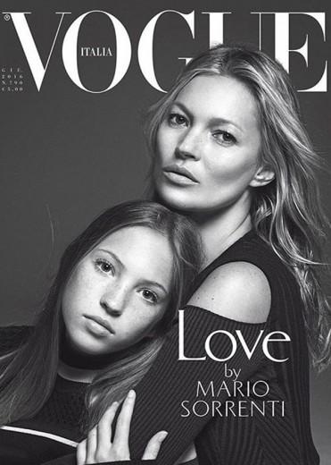 Кейт Мосс с дочкой на обложке журнала Vogue
