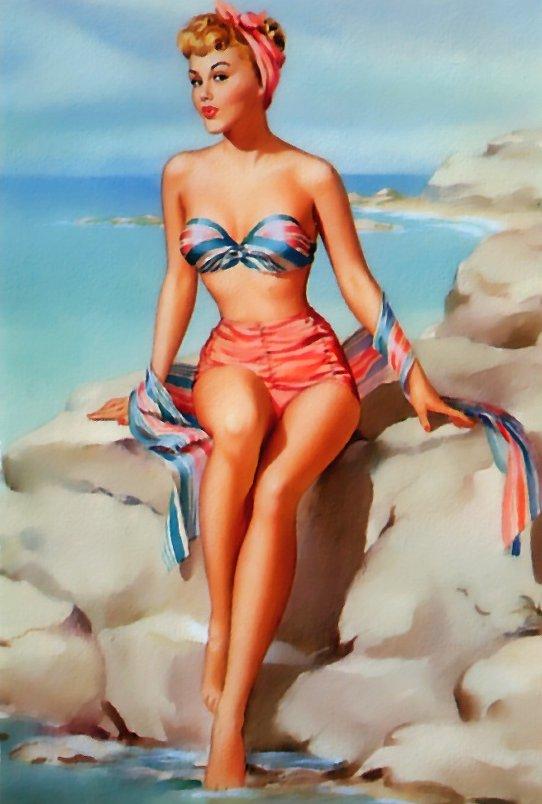 Купальник с высокими плавками, повязка на голове - даже на пляже пин-ап девушка выглядела безупречно