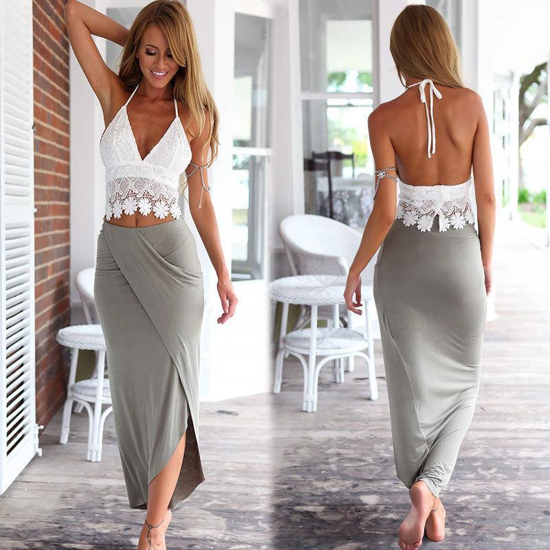 Кружевной топ и трикотажная длинная юбка