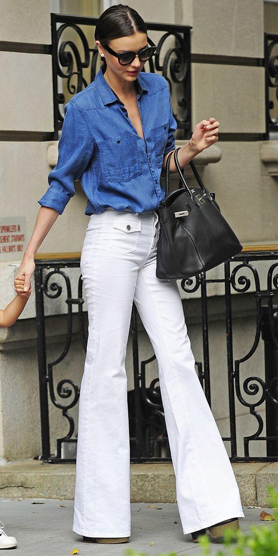 Белые джинсы-клеш. Такой фасон снова в моде