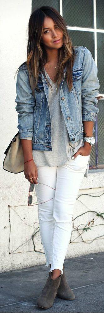 Белые джинсы в сочетании с джинсовой курткой