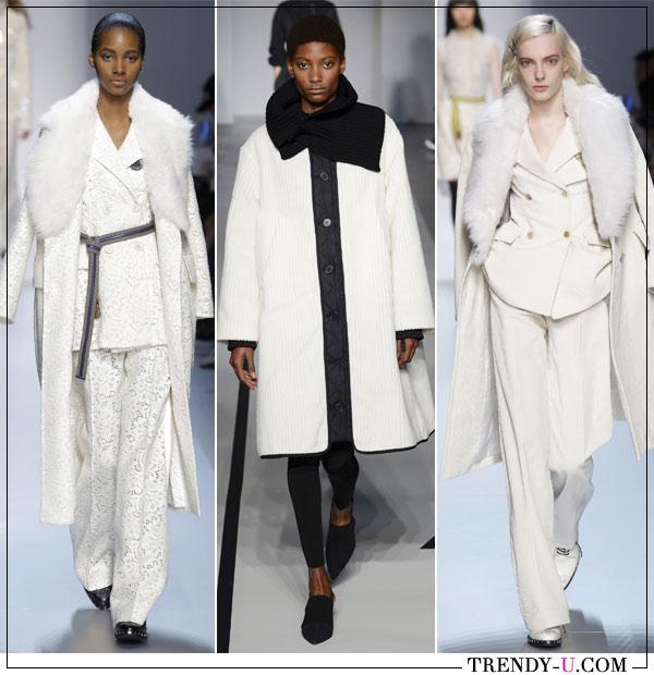 Белые пальто от Ermano Scervino, Sportmax (посередине) осень зима 2019-2020