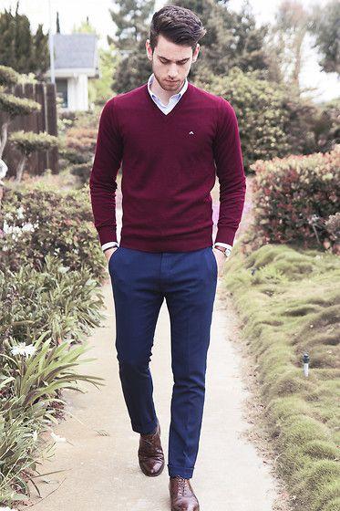 Вариант с чем носить пуловер цвета бургунди
