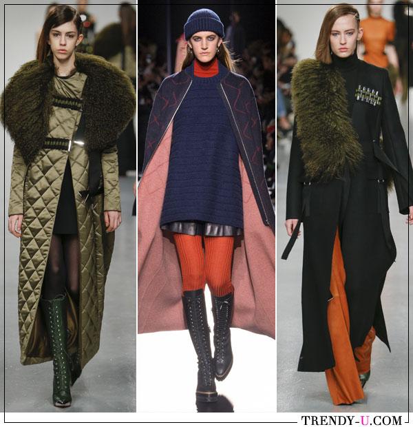 Модные пальто оверсайз миди из коллекций David Koma и Hermes осень-зима 2017-2018