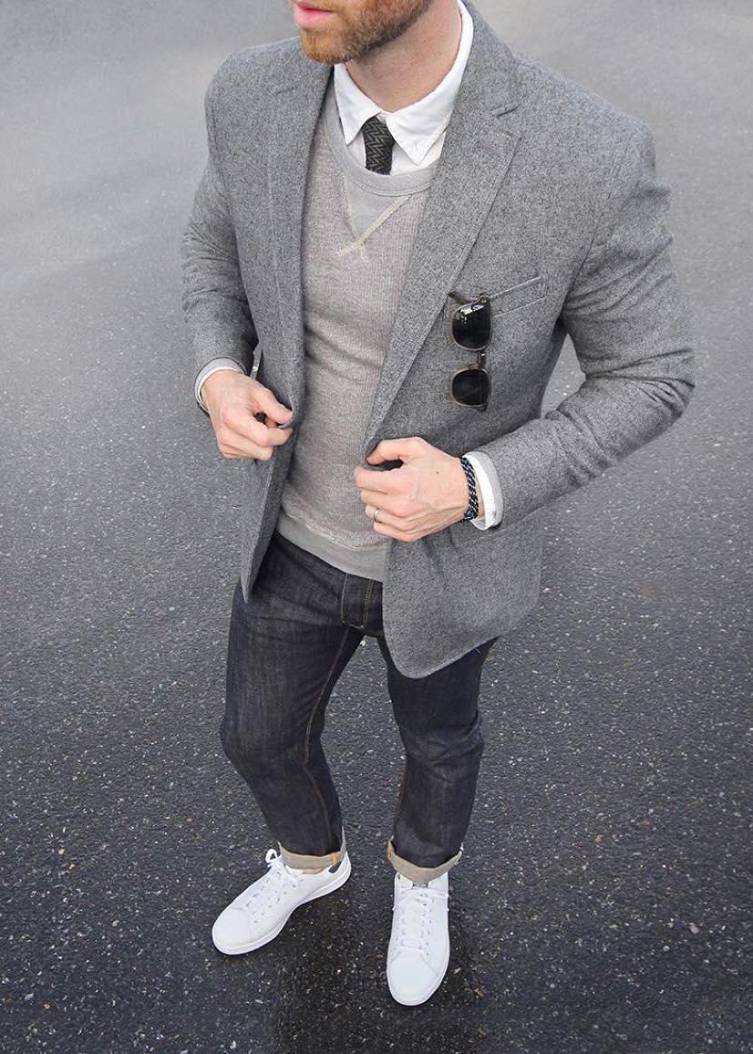 С чем носить серый джемпер: многослойный вариант для почитателей smart casual