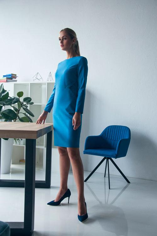 Голубое платье в деловом стиле от украинского бренда Letter K