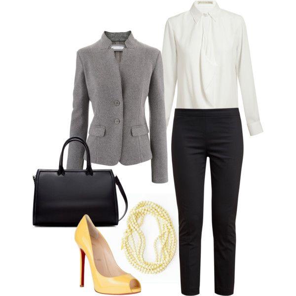С чем носить желтые туфли: вариант для офиса