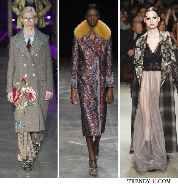 Пальто из коллекций Gucci, Mary Katrantzou, Antonio Marras осень-зима 2017-2018