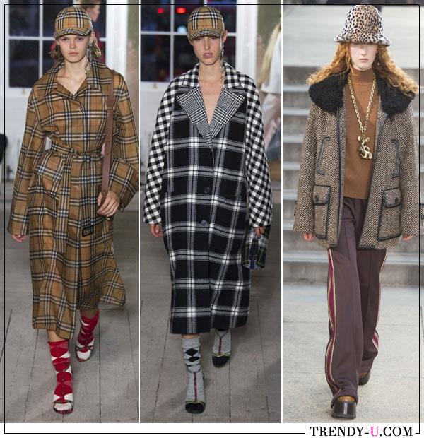 Клетчатые пальто от Burberry и Mark Jacobs осень-зима 2017-2018