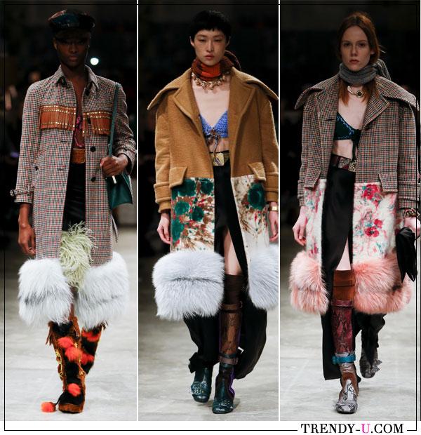 Пальто с искусственным мехом Prada FW 2019-2020