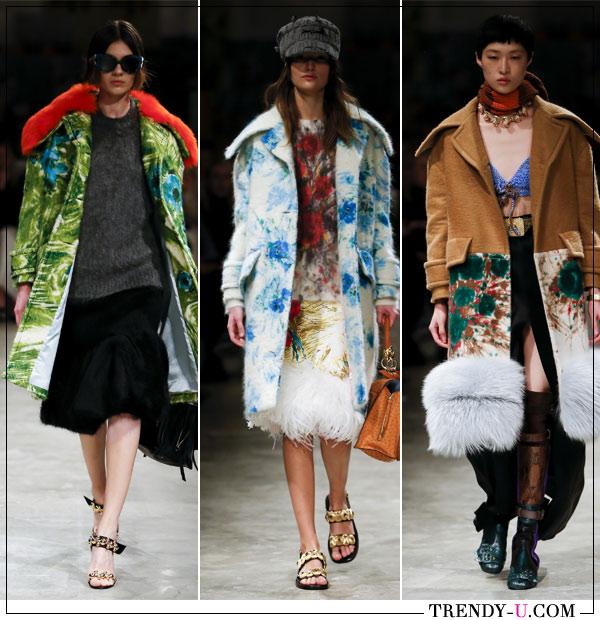 Модные пальто с цветочными принтами Prada FW 2017-2018