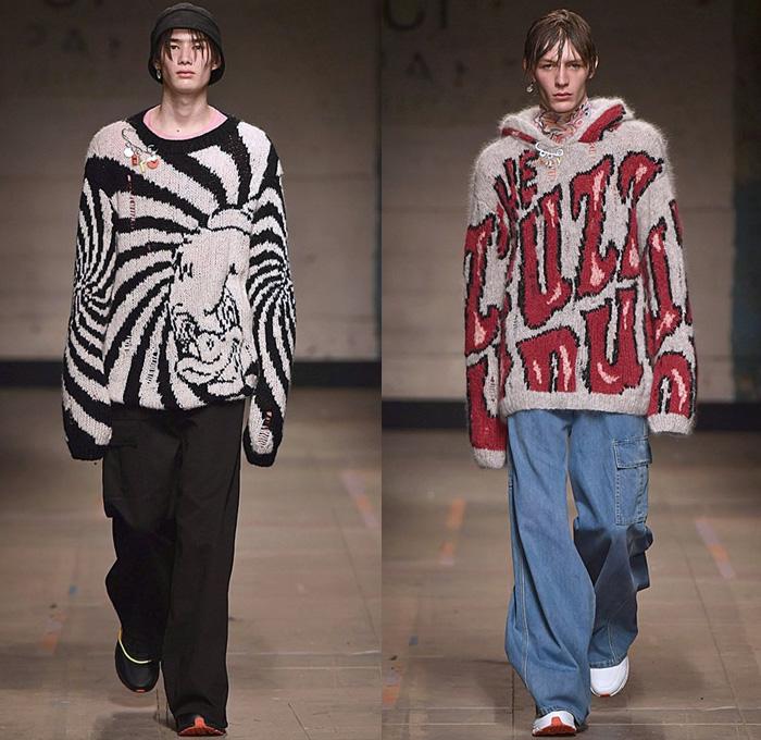 Объемные свитера со слоганами - последний тренд в мужской и женской моде