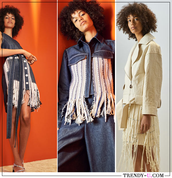 Бахрома на одежде из коллекции Edun весна-лето 2018