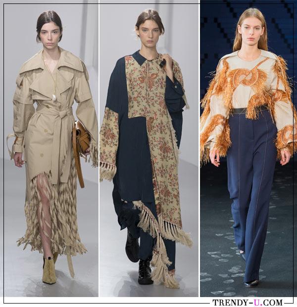 Бахрома на тренче, платье и блузке в коллекциях Loewe и Roksanda для весны и лета 2018