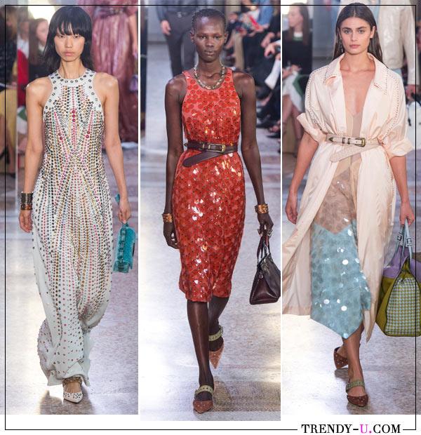 Пайетки на вечерних платьях из весенне-летней коллекции Bottega Veneta 2018