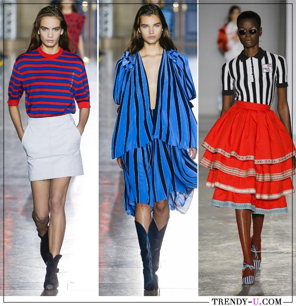Полосы на блузке, платье и джемпере в коллекциях модной одежды Givanchy Stella Jean весна-лето 2018