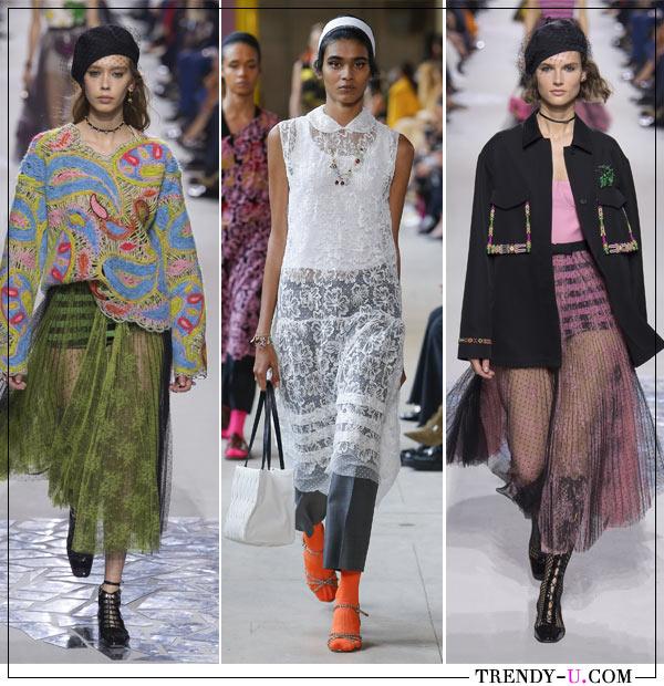 Модная одежда Christian Dior и Miu Miu (посередине) для весенне-летнего сезона 2018