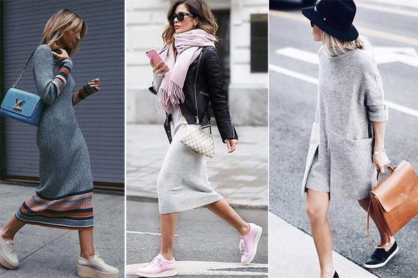 Как носить вязаное платье осенью 2018: вот так!