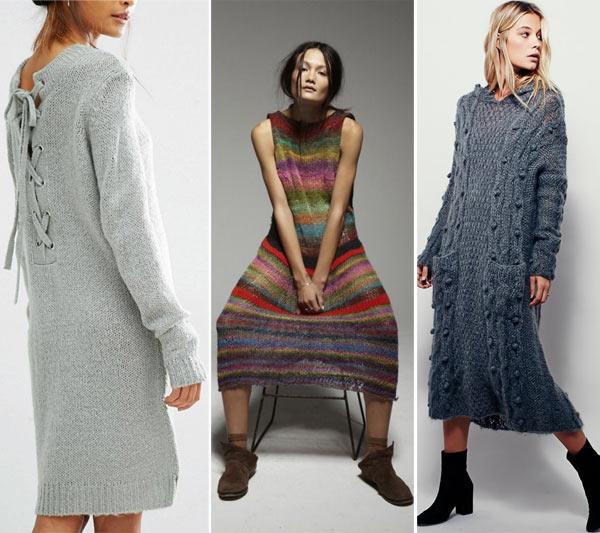 Вязаные платья хендмейд в моде осенью 2018 и зимой 2018-2019
