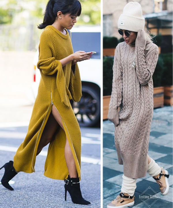 Вязаное платье миди: все зависит от аксессуаров!