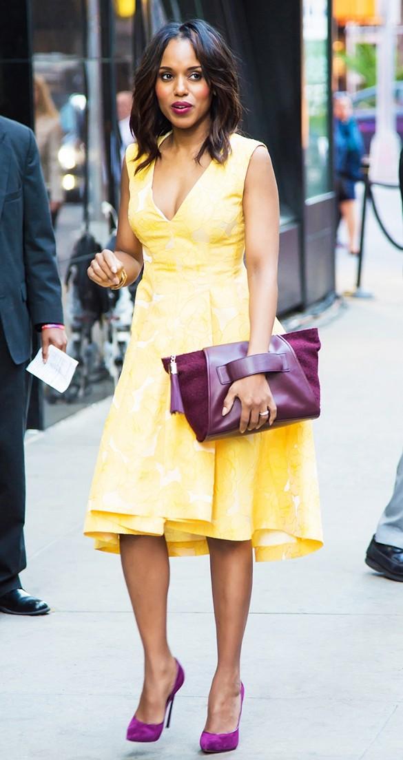 Сумка в тон туфлям и желтое плате - образ Керри Вашингтон
