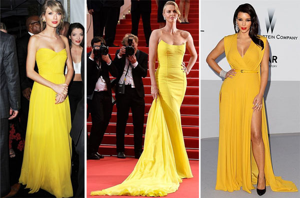 Желтые платья на Тейлор Свифт, Шерлиз Терон и Ким Кардашьян