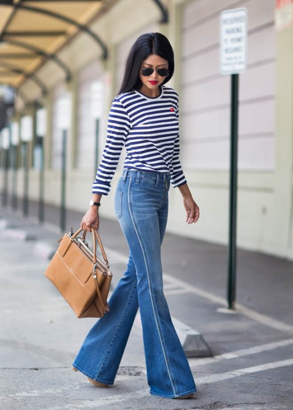 С чем носить джинсы клеш летом: с коротким топом и легкой накидкой