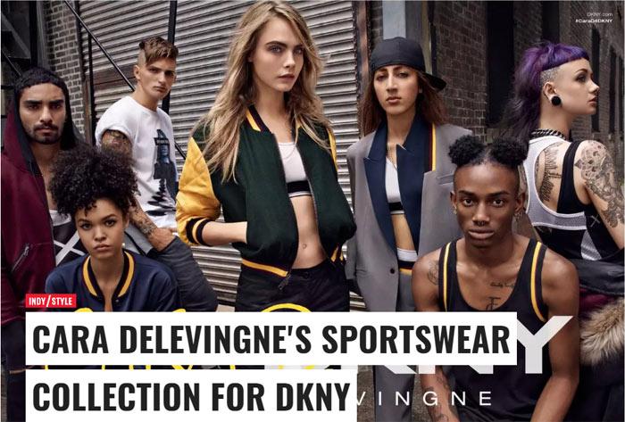 Кара Делевинь разработала дизайн спортивной коллекции одежды в коллаюорации с DKNY