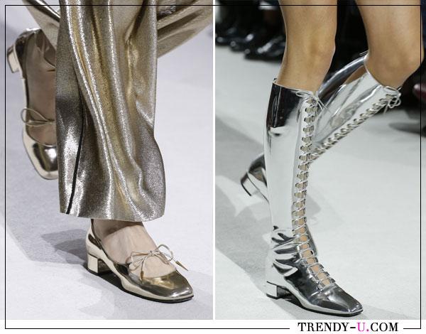Туфли и сапоги цвета металлик Christian Dior весна-лето 2018
