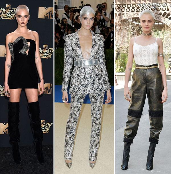 Кара Делевинь в коротком платье от Saint Laurent и в костюме / брюках в сочетании с топом от Chanel