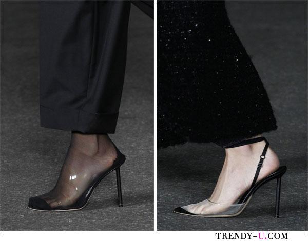 Модные туфли и босоножки с вставками из прозрачного пластика для весны и лета 2018
