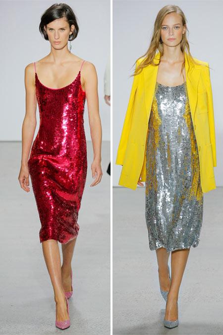 Платья с металлическим блеском в коллекции Oscar de la Renta SS 2018