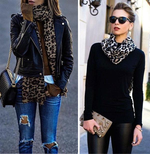 С чем носить шарф с леопардовым принтом: со свитером, с курткой
