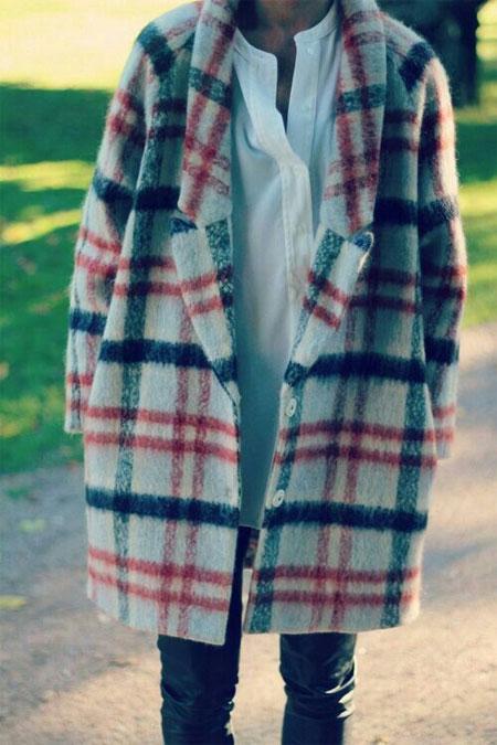 Пальто в крупную контрастную клетку для стройной и высокой