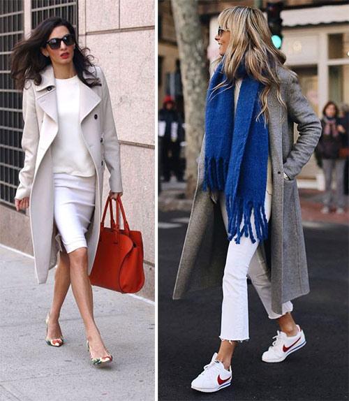 Амалия Клуни и городская модница в серых пальто.  Акценты образов