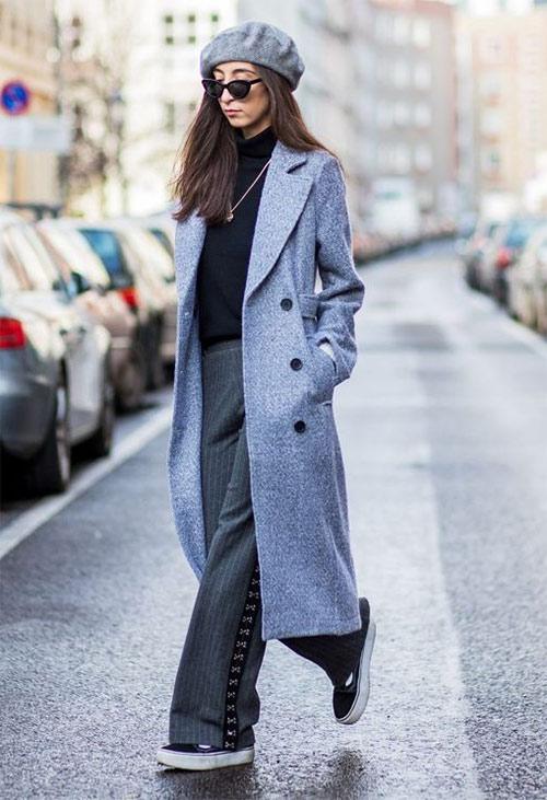 Как носить серое пальто осенью: в сочетании с беретом
