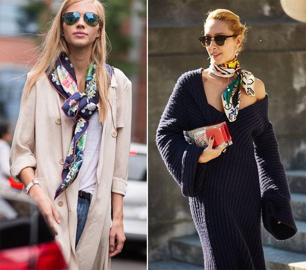 Шелковые косынки с абстрактным принтом на модницах