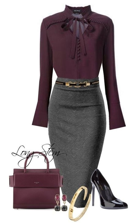 Образ в деловом стиле: фиолетовая блузка и серая юбка