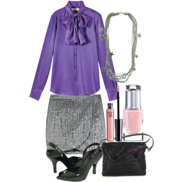 Фиолетовая блузка и серая юбка